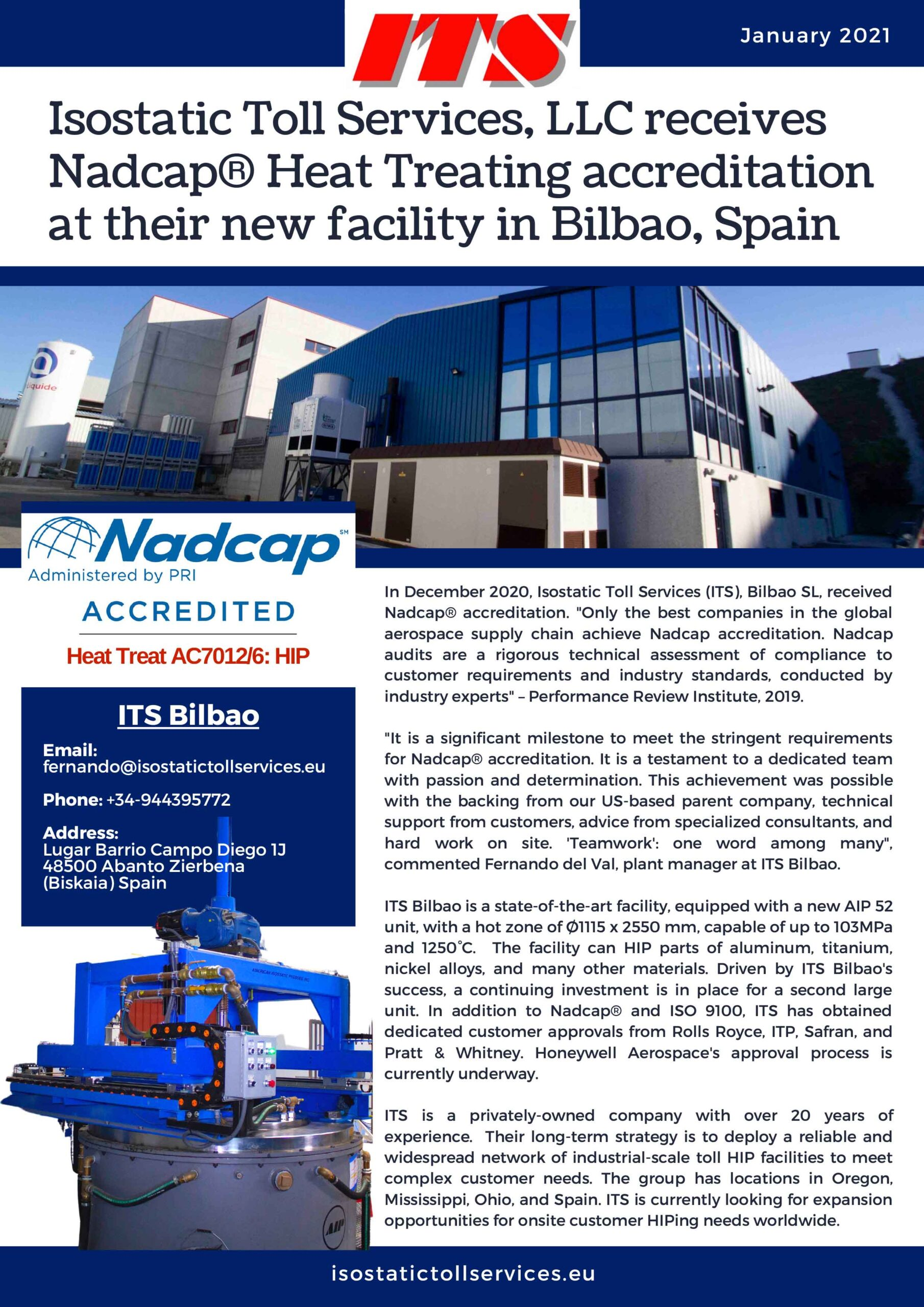ITS Bilbao Nadcap Newsletter