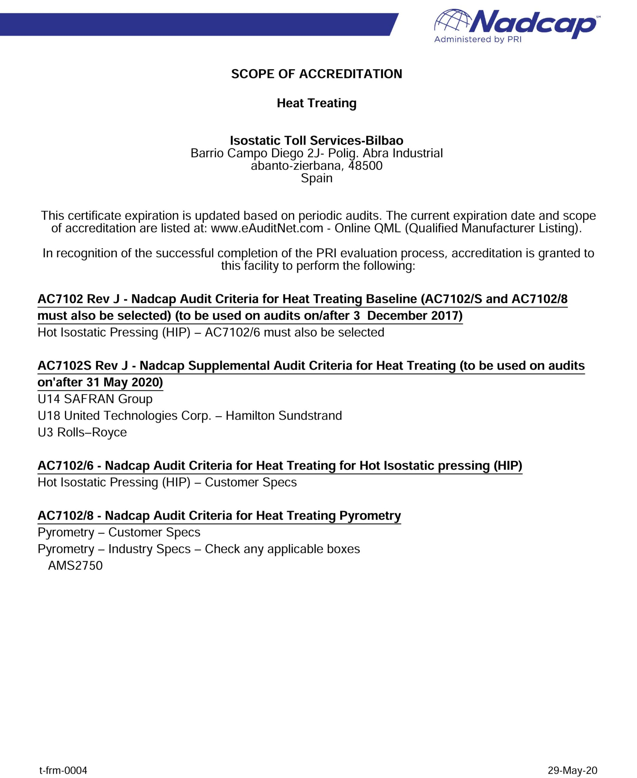 Scope Of Accreditation Nadcap (Aerospace) Heat Treating audit # 205776